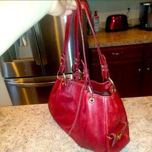 Ralph Lauren red leather satchel handbag